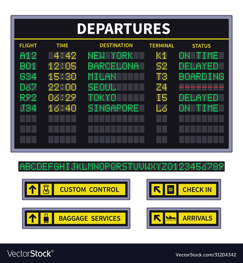 Departure board airport board announcement