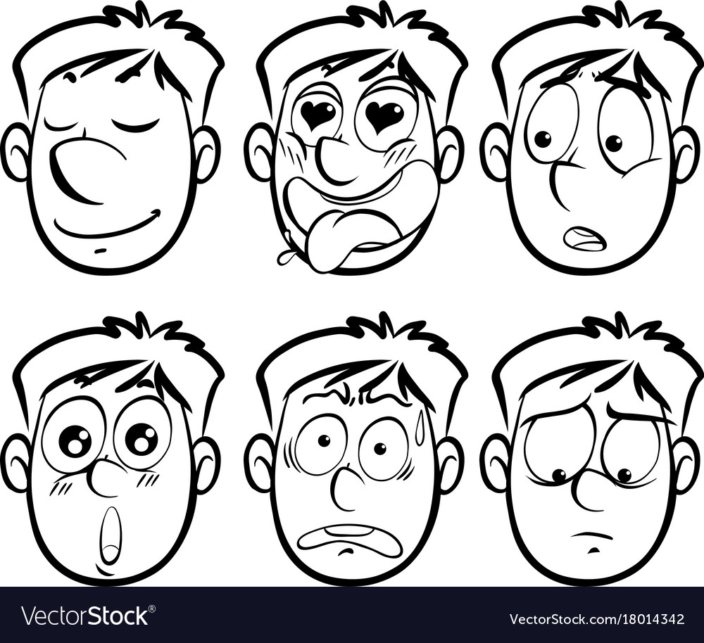 Different facial expressions on man