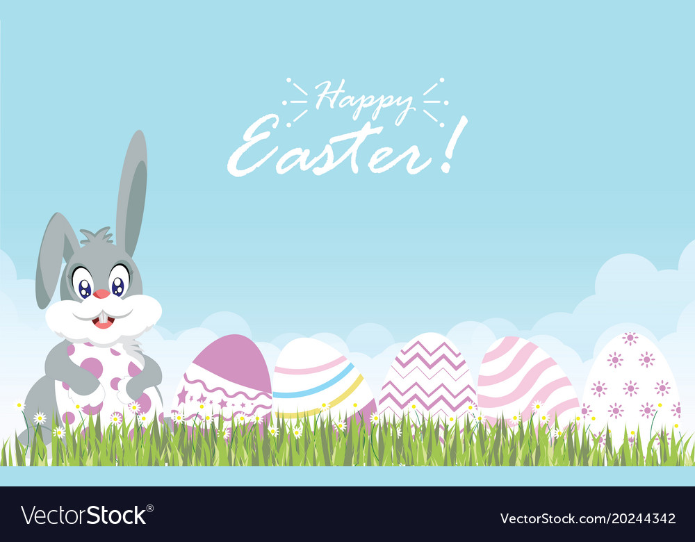 Easter eggs and easter bunny for decoration on