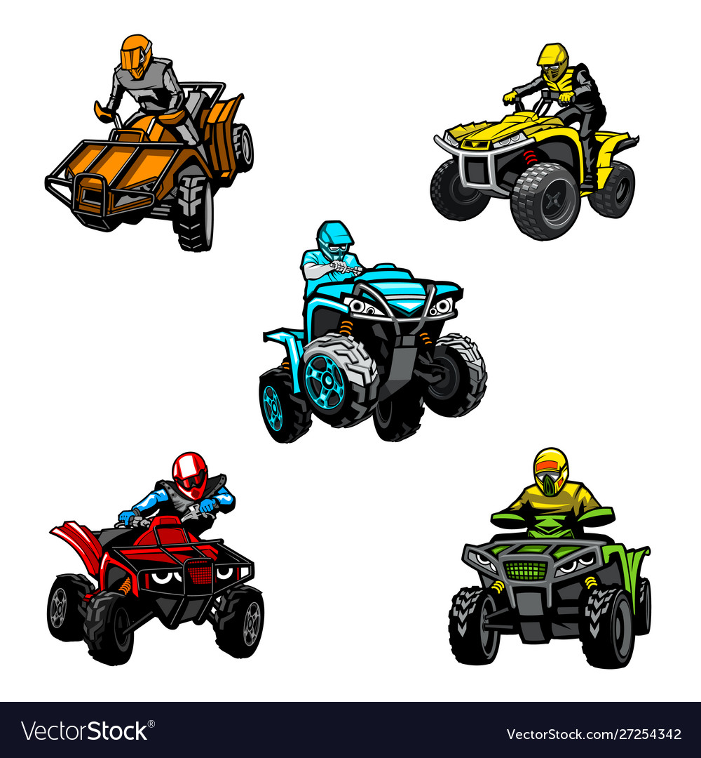 Five Full Color Quad Bikes From Different Angles Vector Image