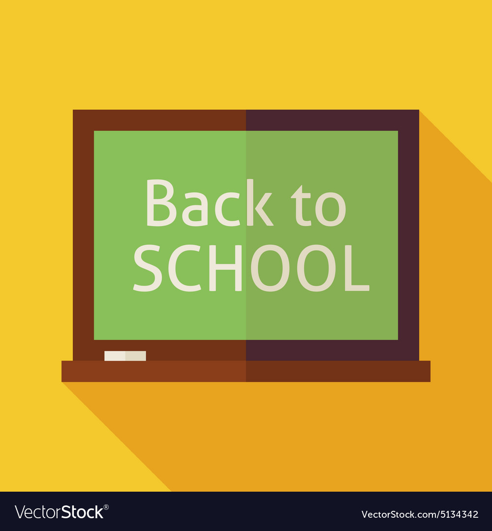 Flat Back to School Chalkboard with long Shadow