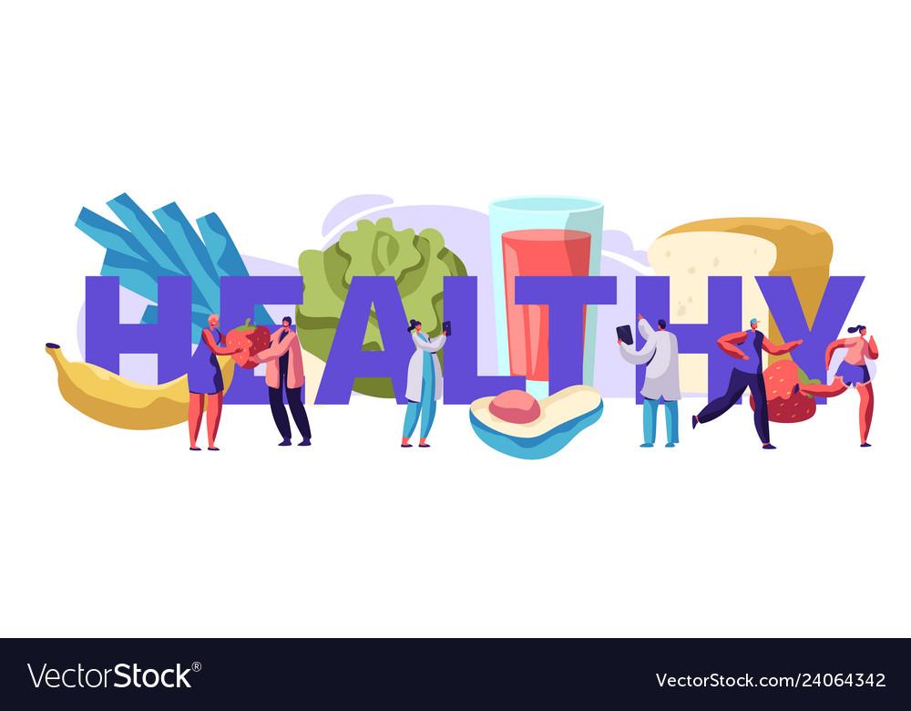 Fresh healthy food typography banner design