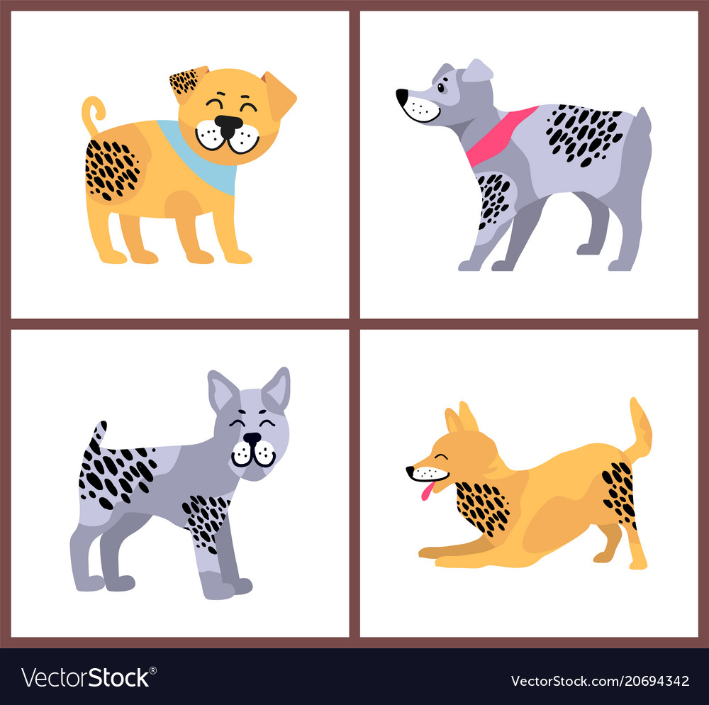 Happy dogs icons collection on