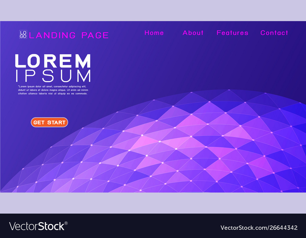 Landing page template with gradient background