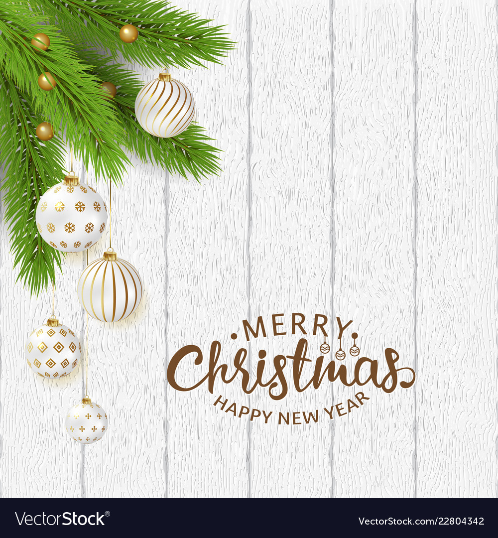 Merry christmas poster with balls and branches