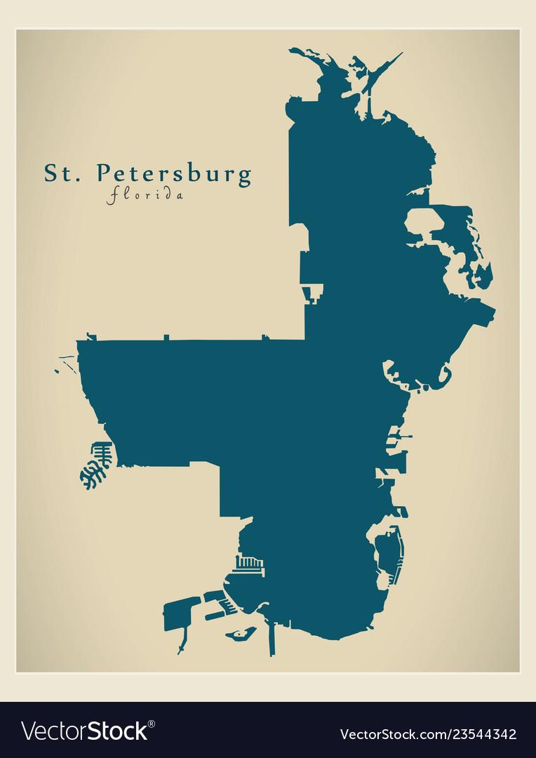 Modern city map - st petersburg florida city of