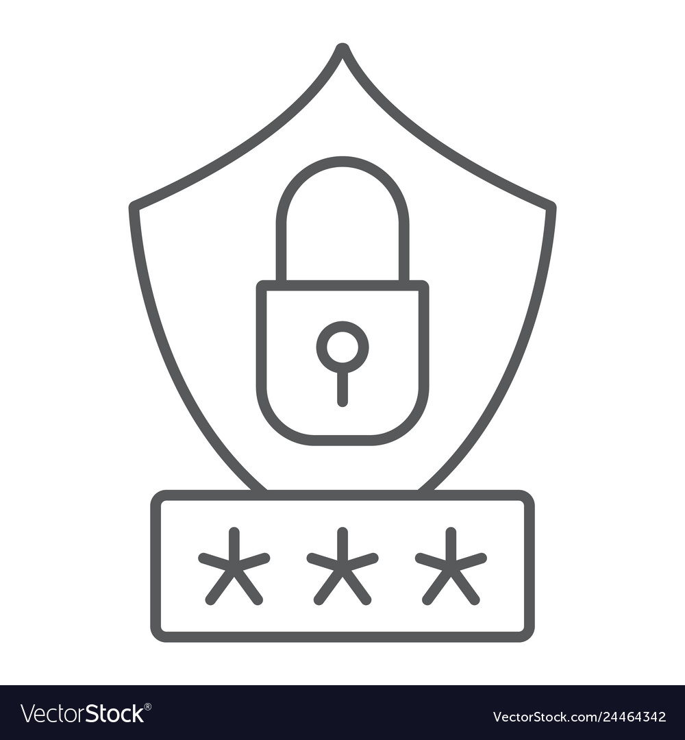 Password protection thin line icon privacy and