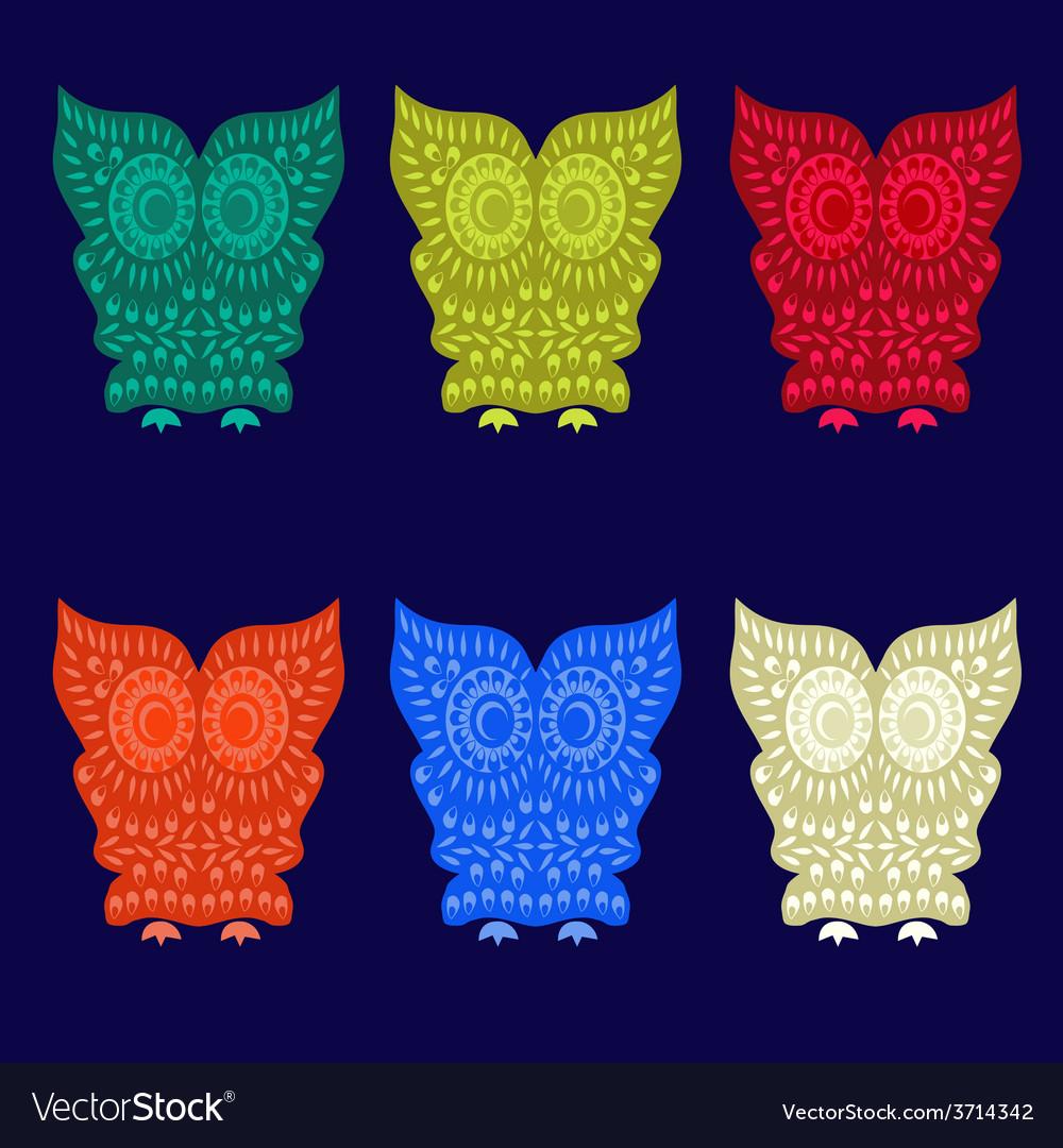 Set of Cute Owl Characters