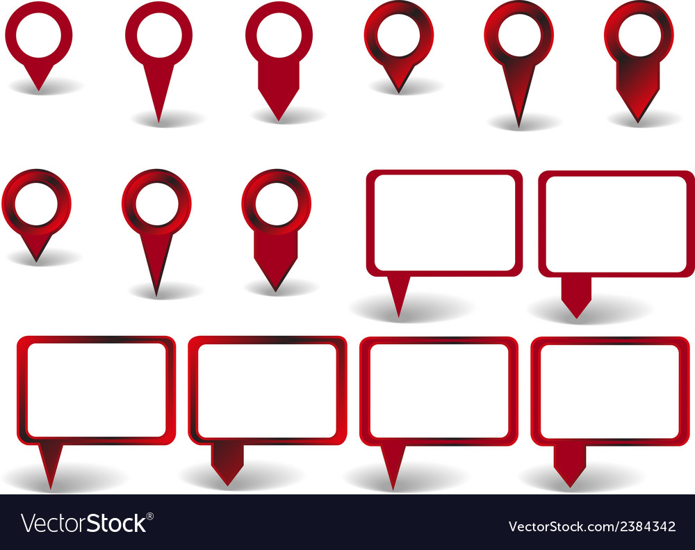 Set of red pointers on white background with