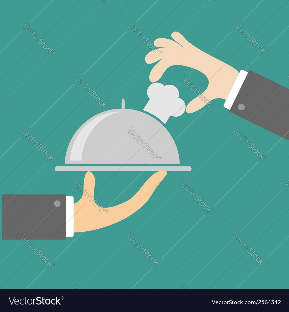 Two waiter hands with silver platter cloche