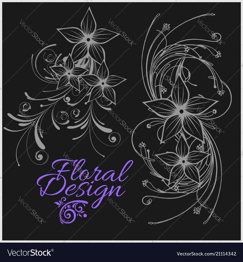 Vintage floral design - set isolated on