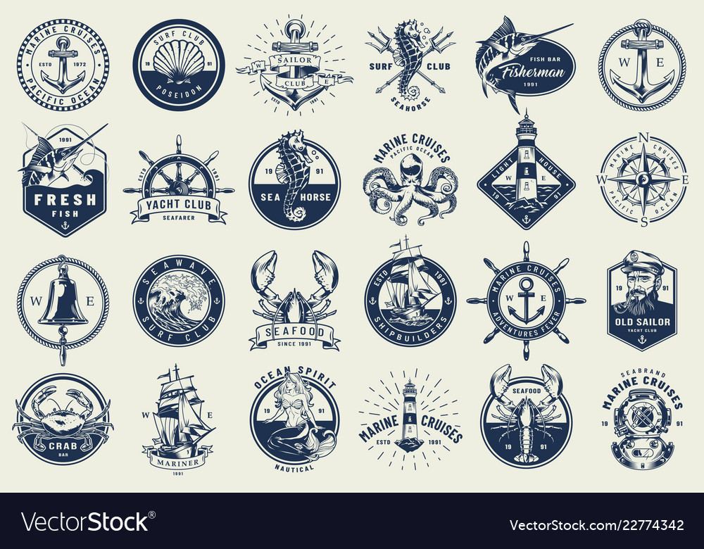 Vintage nautical labels collection