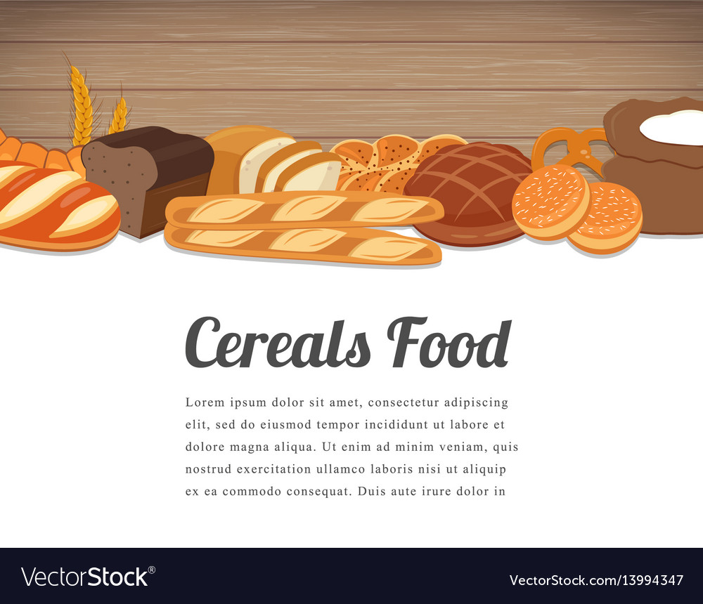 Cereals food card design food background with vector image