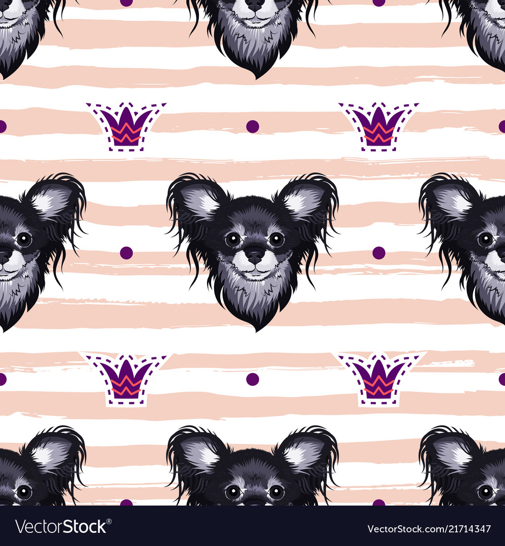 Dog seamless pattern heads of puppies on a