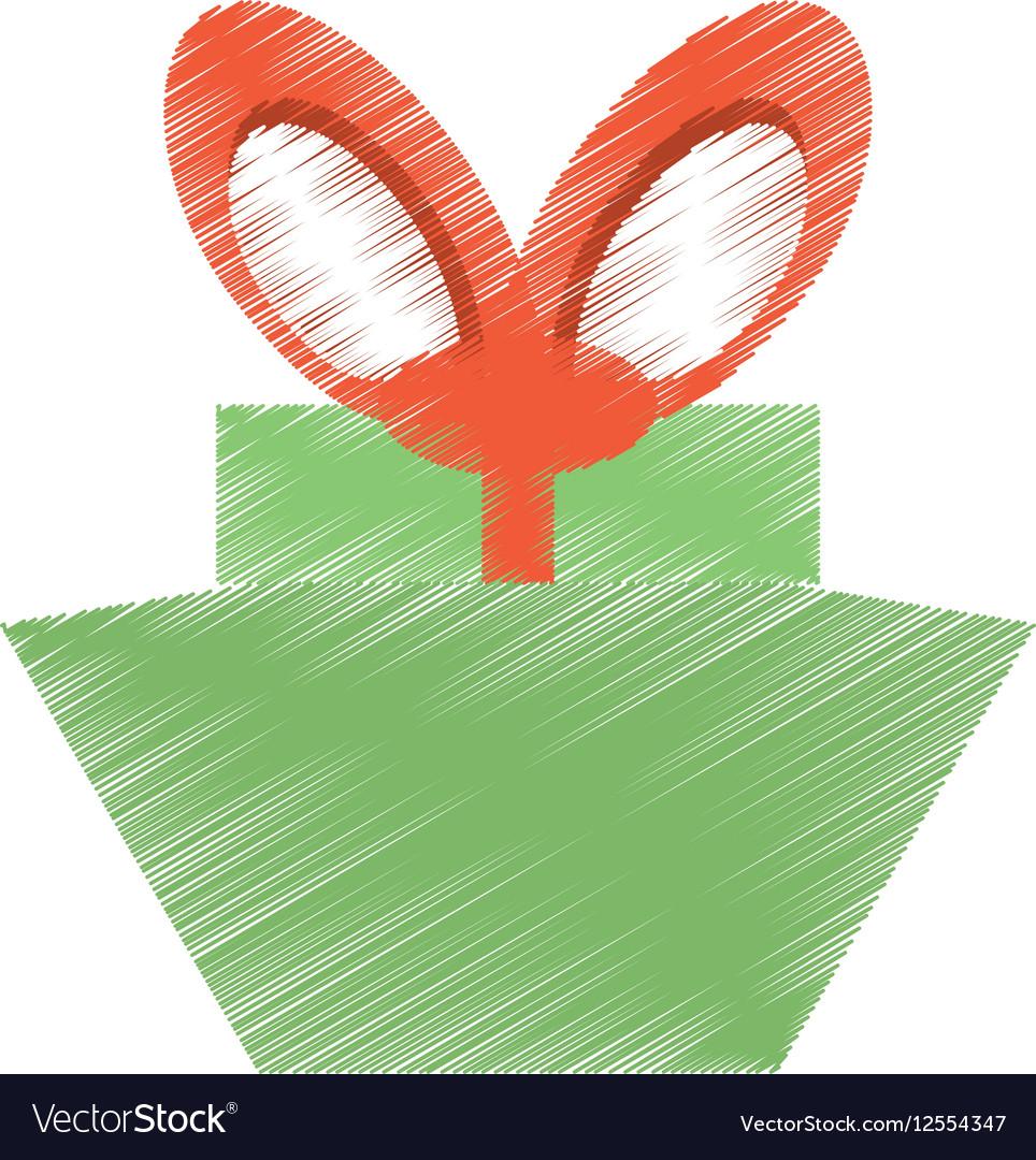 Drawing green gift box red big bow