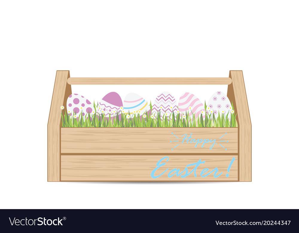 Easter eggs for decoration in wooden box vector image