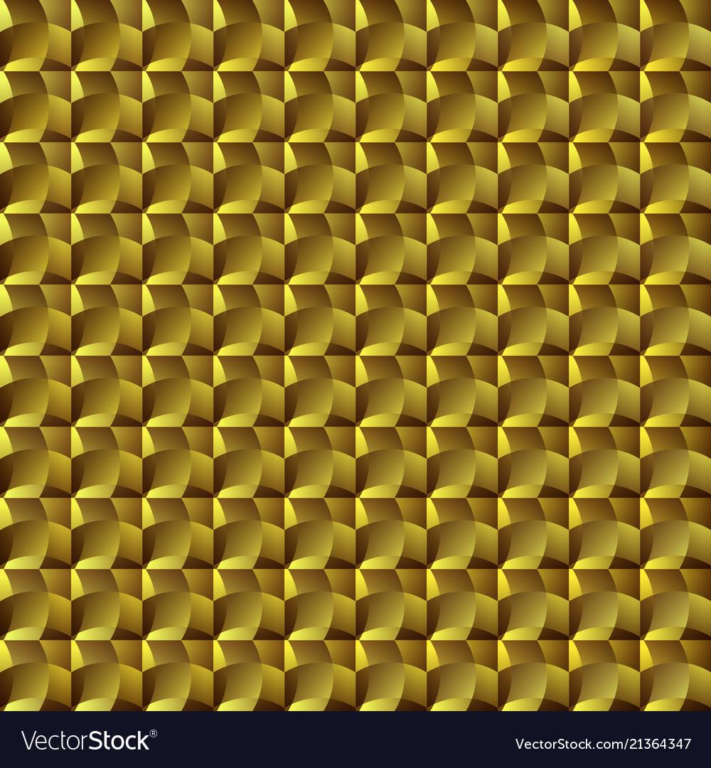 Golden geometric seamless mosaic pattern