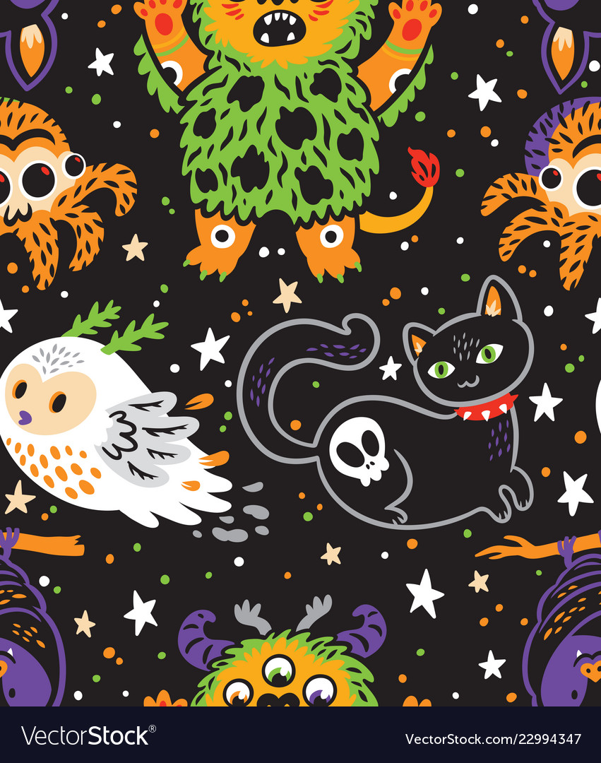 Happy halloween seamless background with cartoon