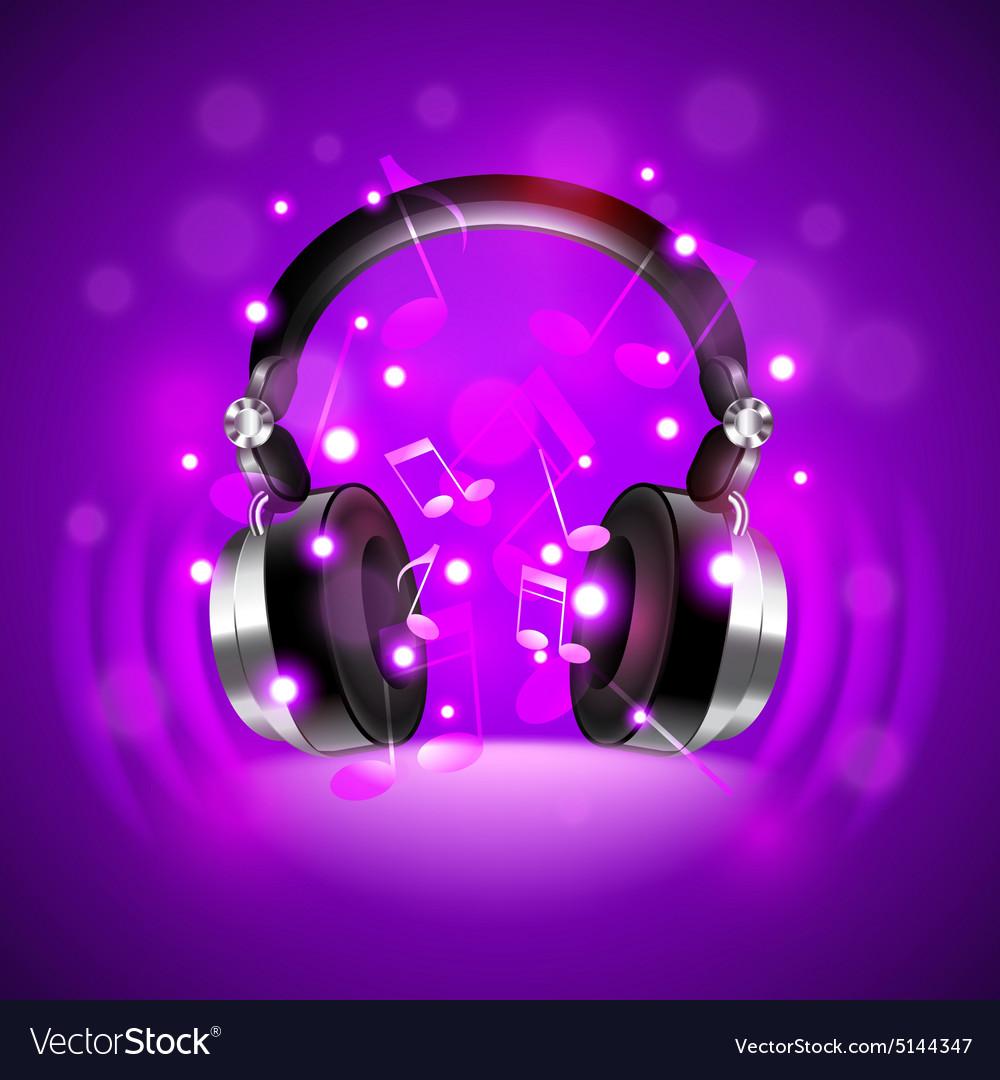 Headphones on dark glowing background