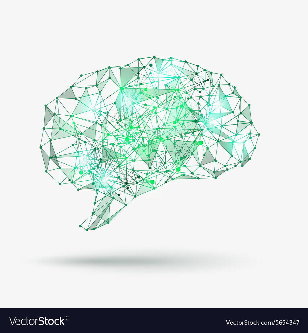 Low poly human brain Royalty Free Vector Image