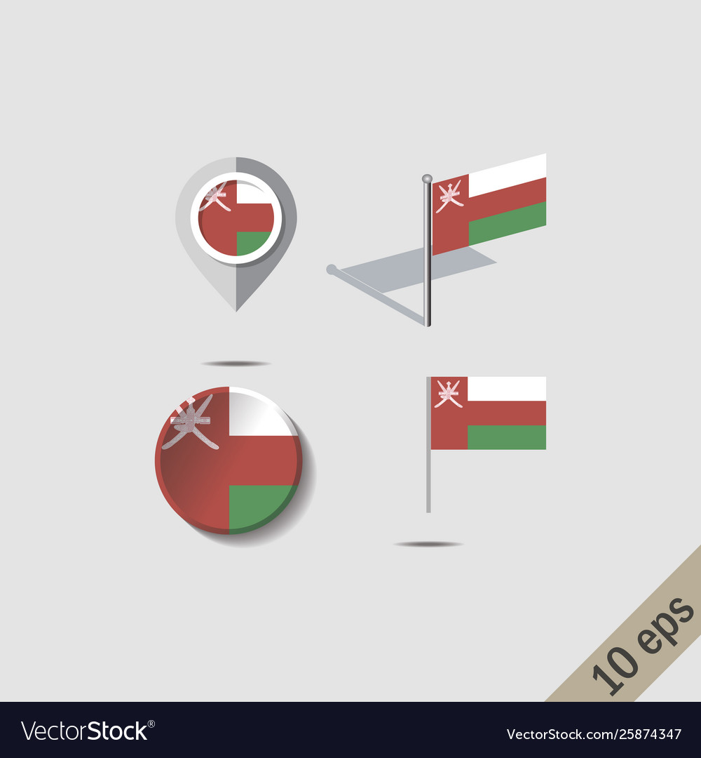 Map Pins With Flag Oman