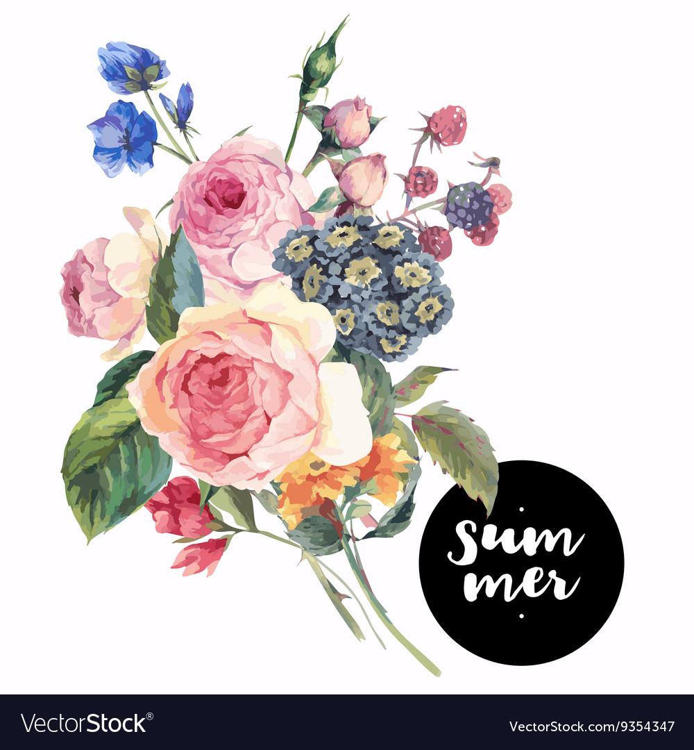 Roses vintage floral greeting card