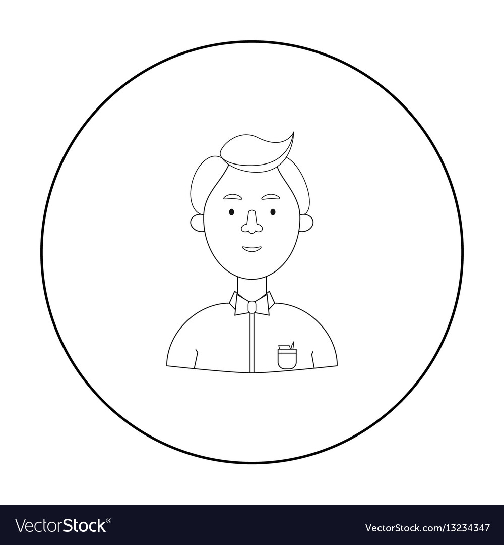 Scientist icon in outline style isolated on white