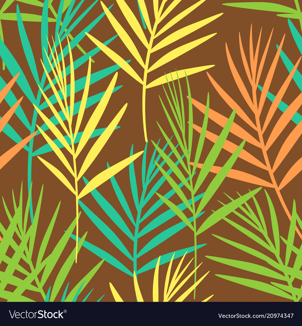 Seamless floral pattern of tropical leaves on