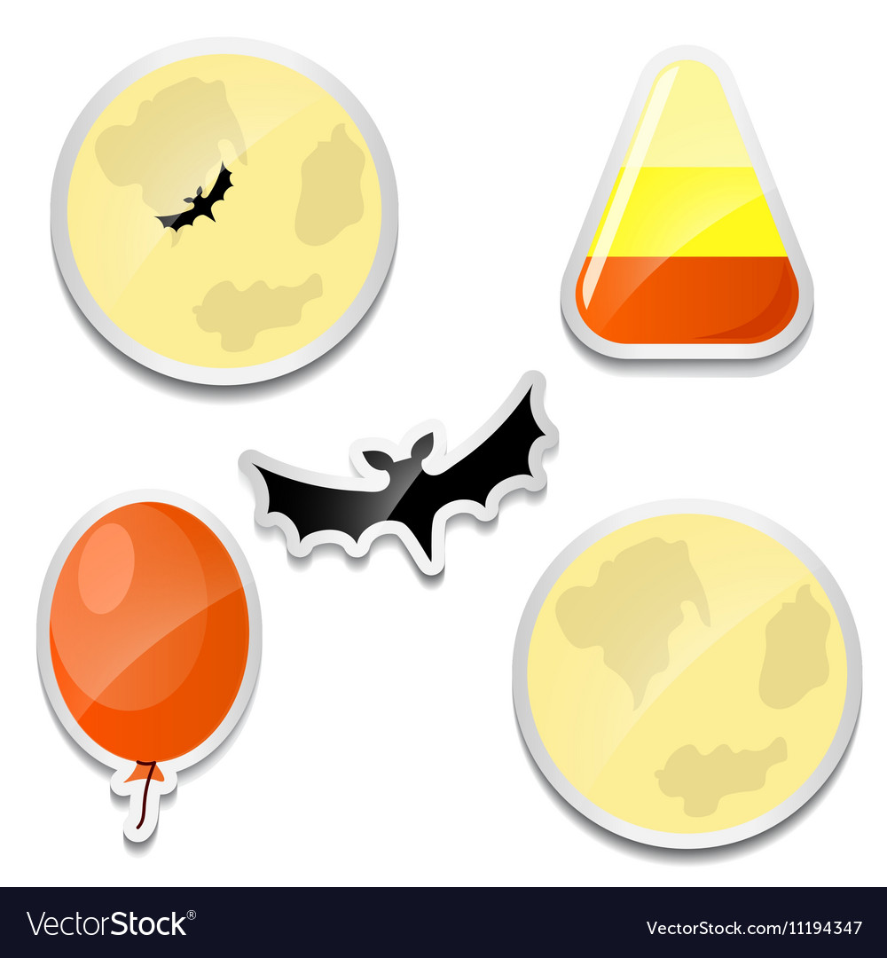 Set of Halloween stickers Moon Candy corn bat vector image