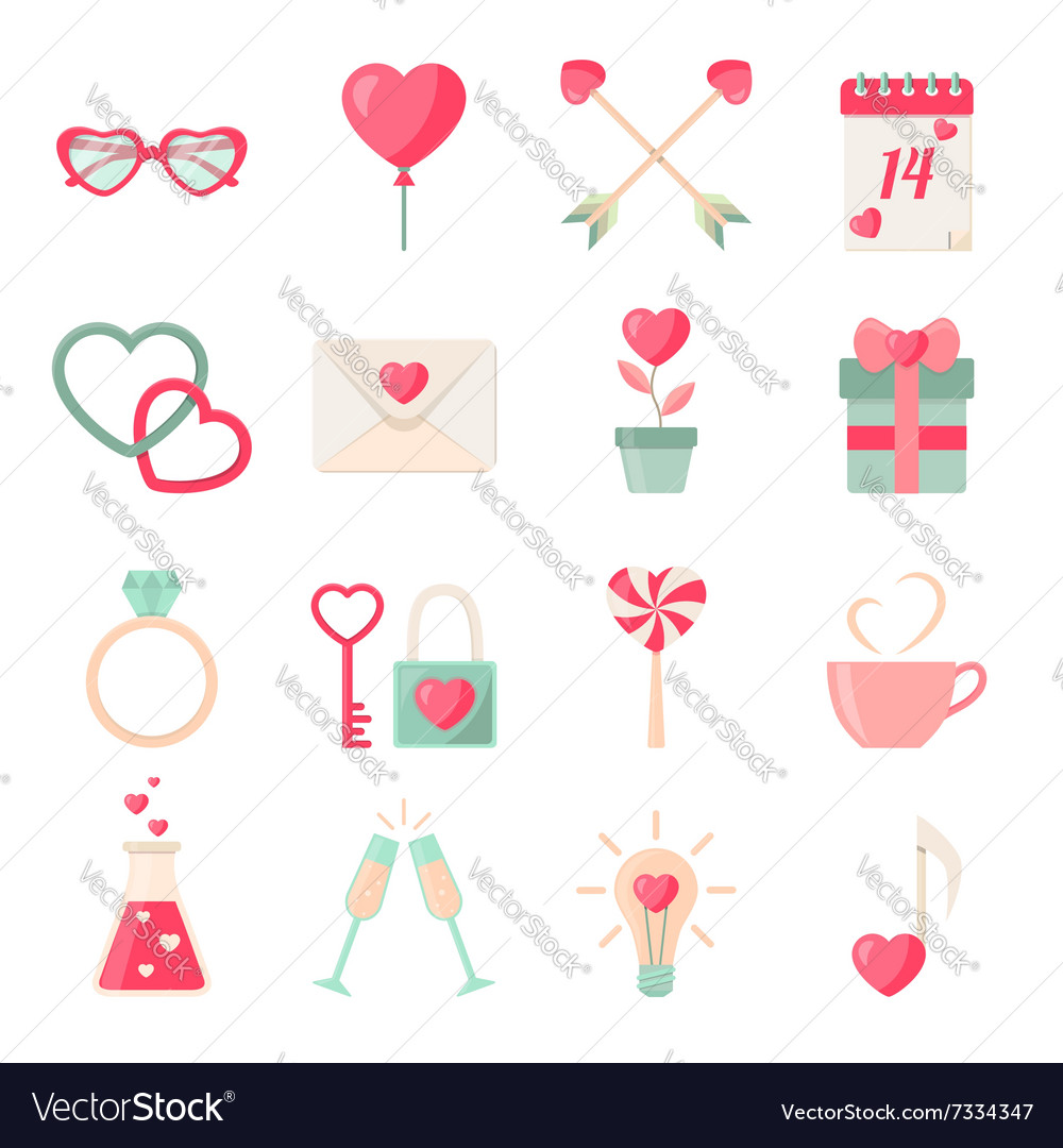 Set of Valentines day icons elements collection