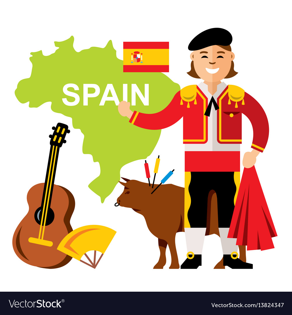 Travel concept spain flat style colorful