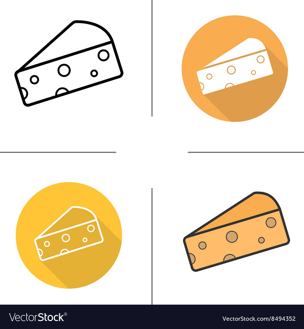 Cheese flat design linear and color icons set
