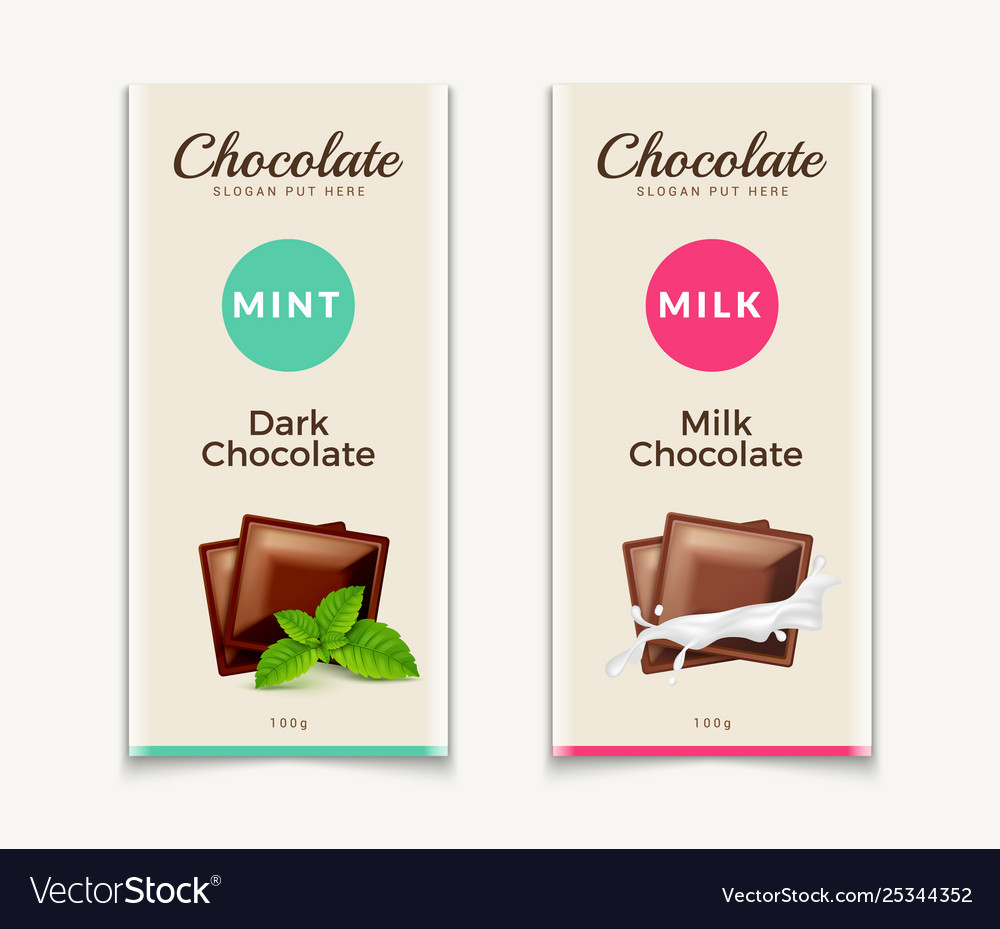 Chocolate bar packaging template design chocolate