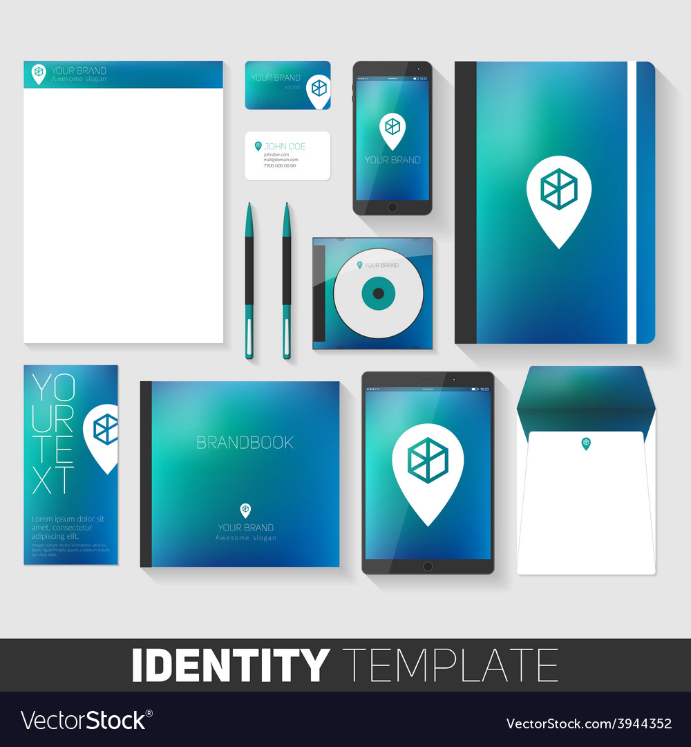 corporate stationery design template flat design vector image