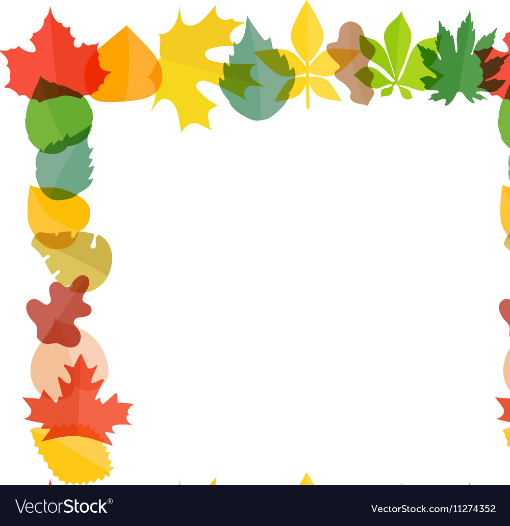 Different color autumn leaves greeting frame