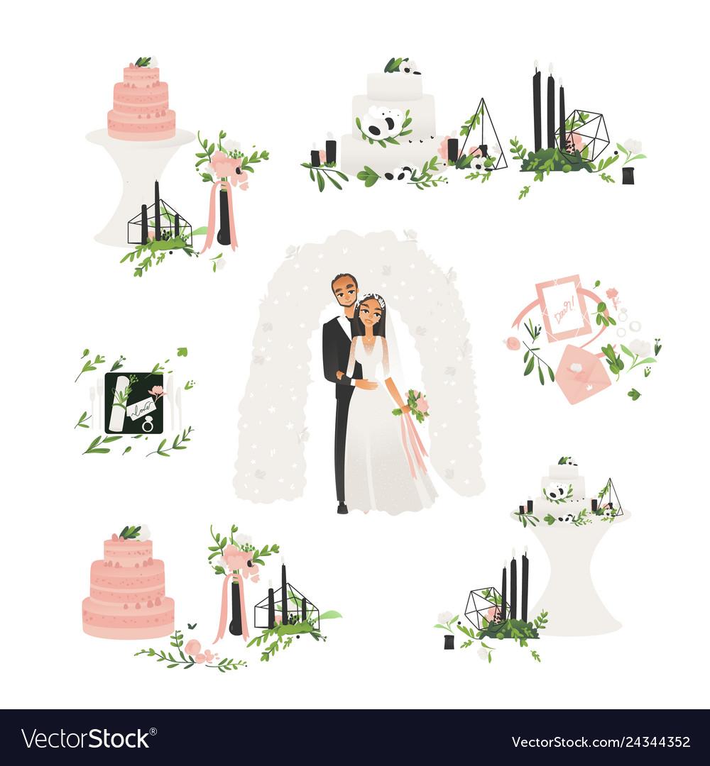 Flat bride and groom wedding ceremony icons