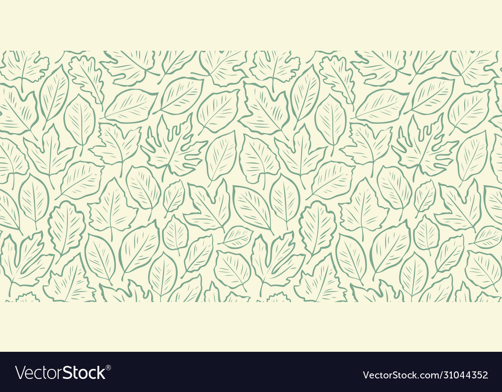 Hand drawn leaves seamless background vintage