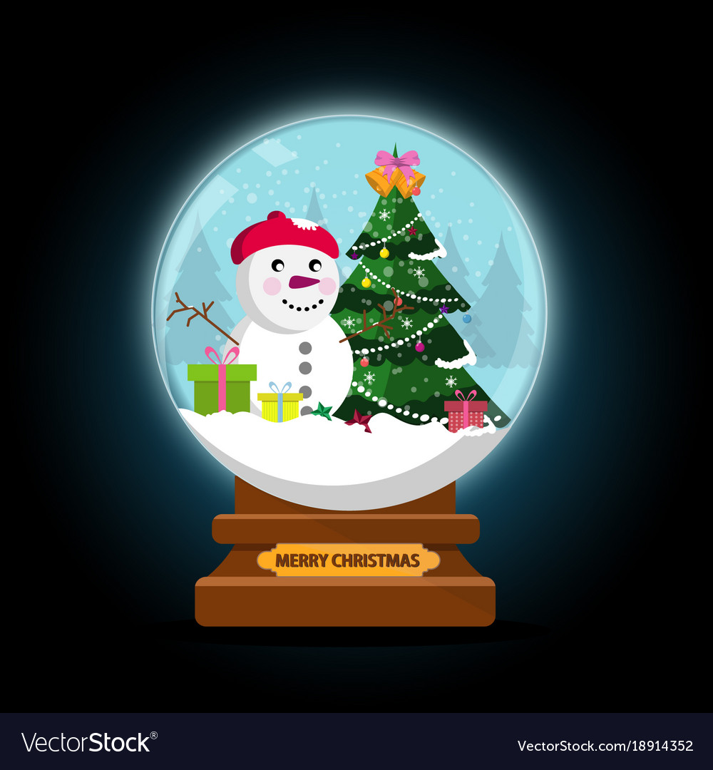 night snow globe and christmas tree with balls vector image