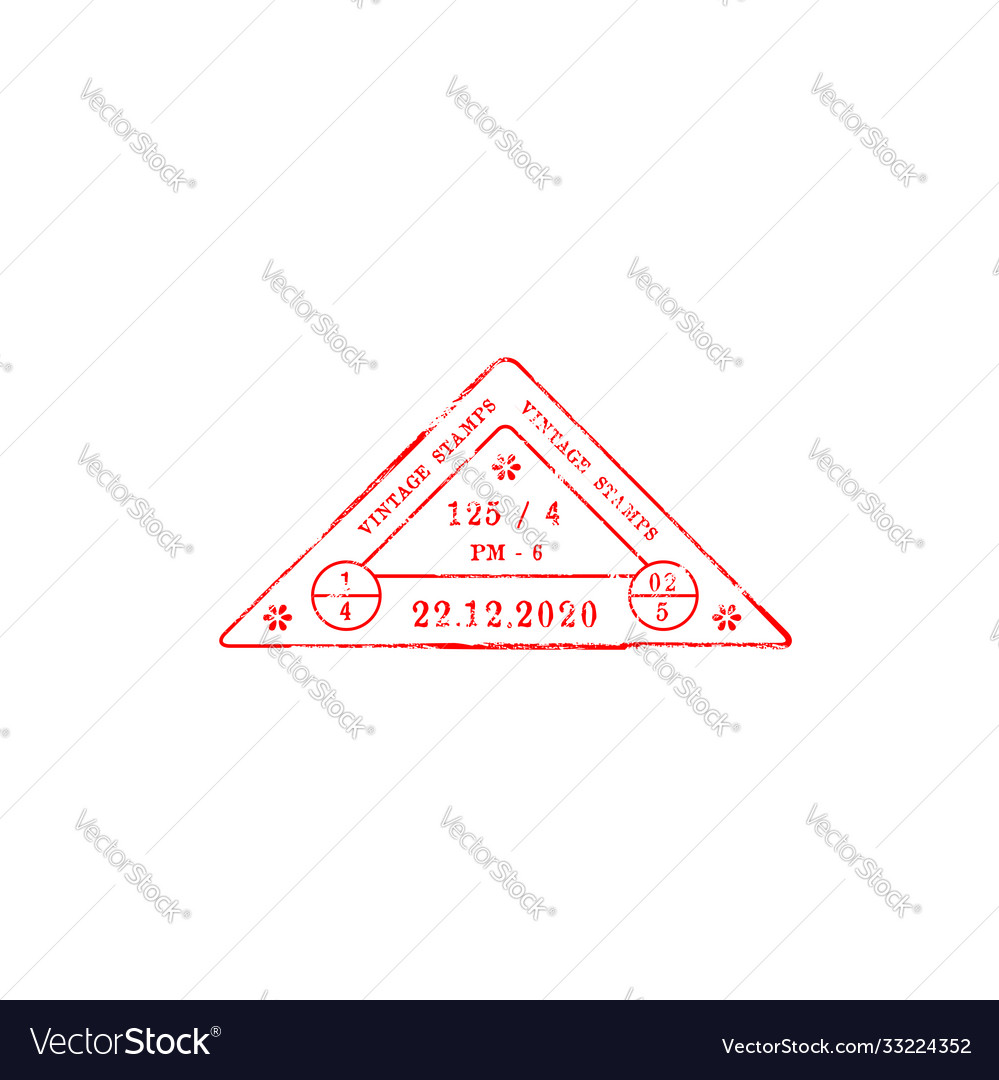 Red triangle stamp with date arrival departure