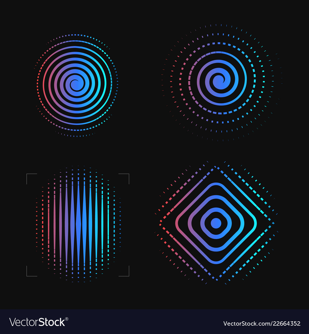 Set of abstract spiral finger print logo template