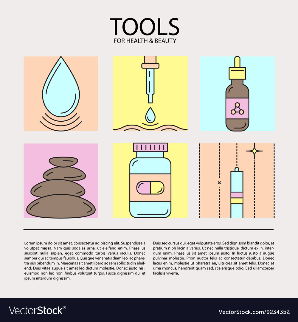 Set of icons of beauty and health tools