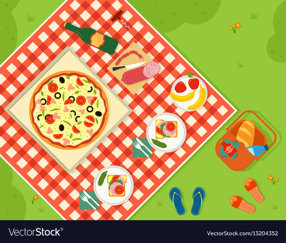 Summer picnic in park banner vector image