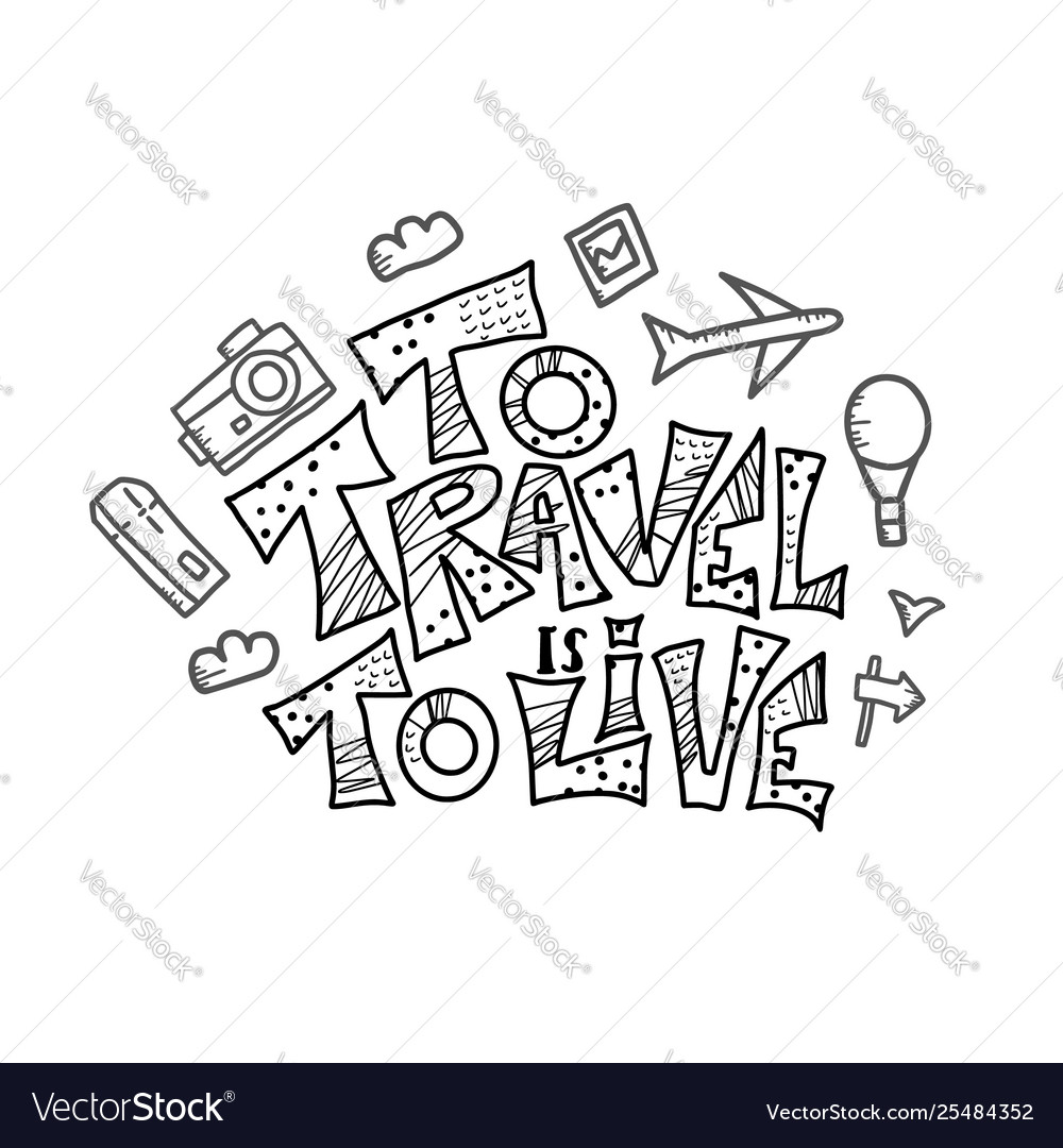 Travel quote with doodle symbols in