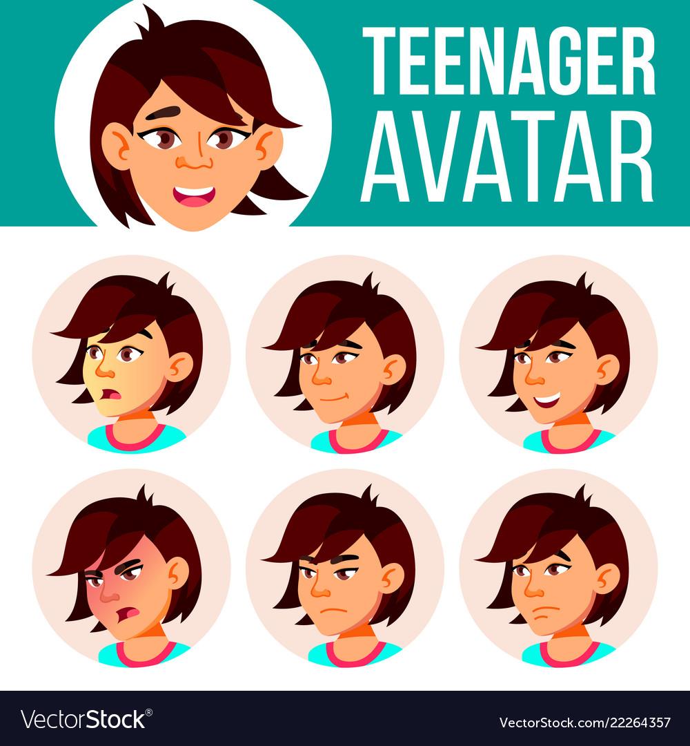 Asian teen girl avatar set face emotions