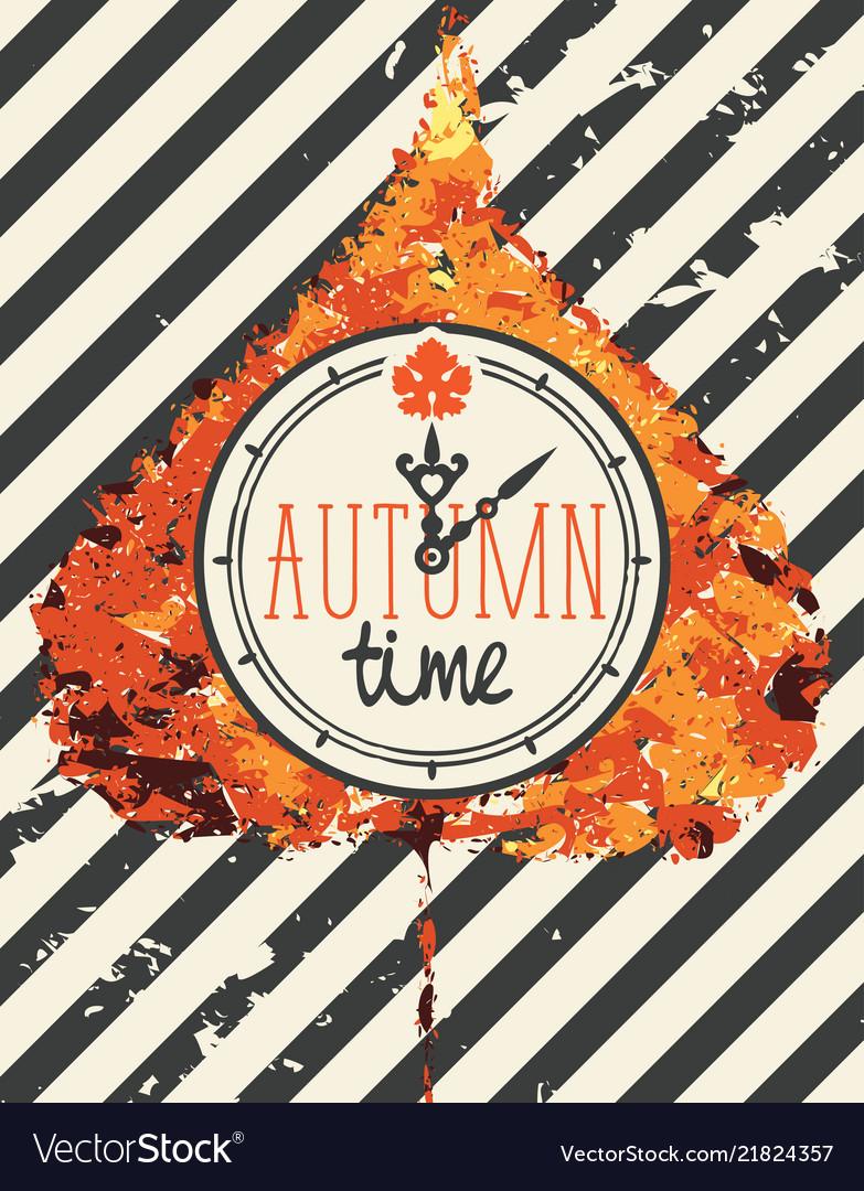 Autumn banner with clock on a poplar leaf