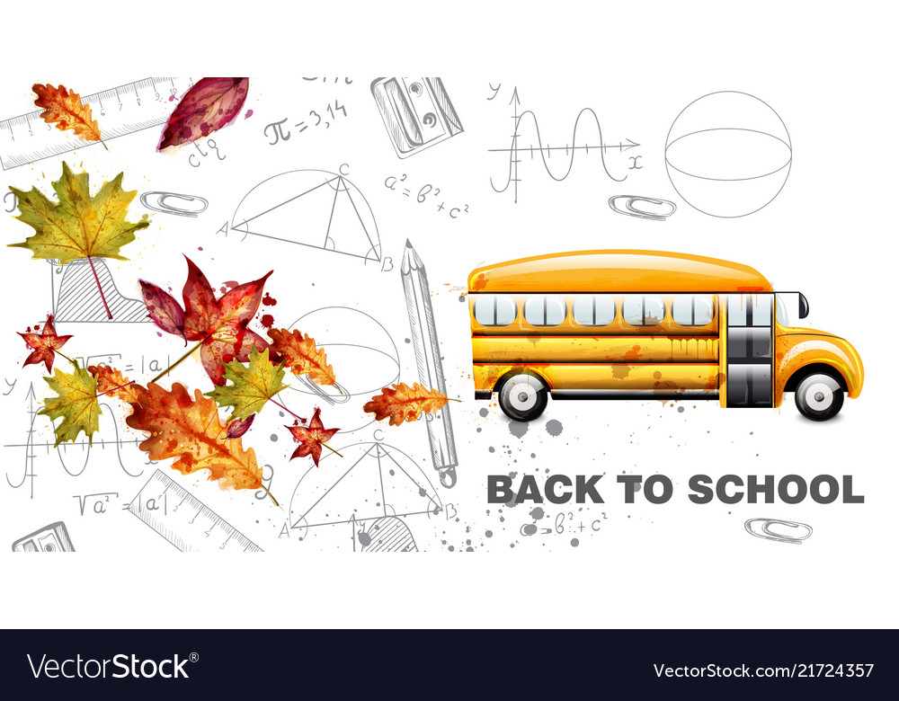 Back to school watercolor card yellow bus