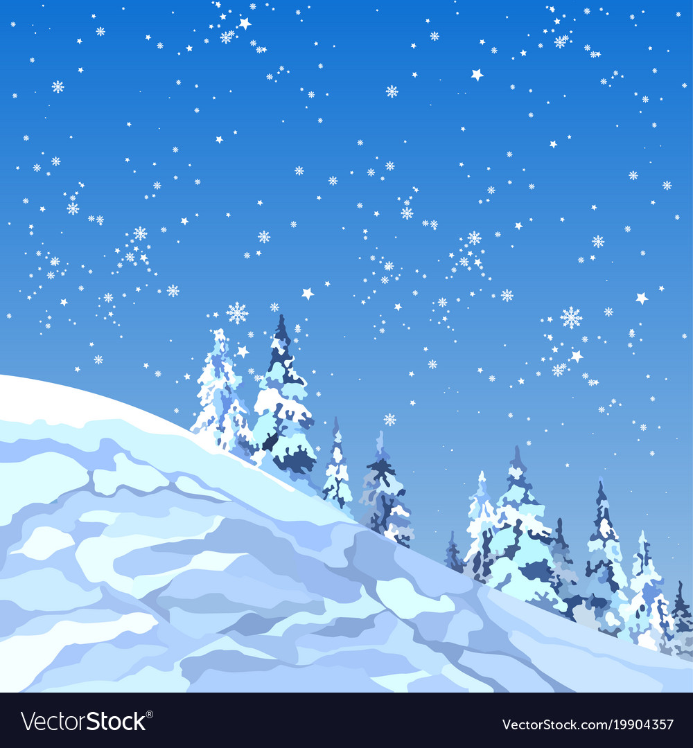 Background snowy mountain with firs and snowflakes