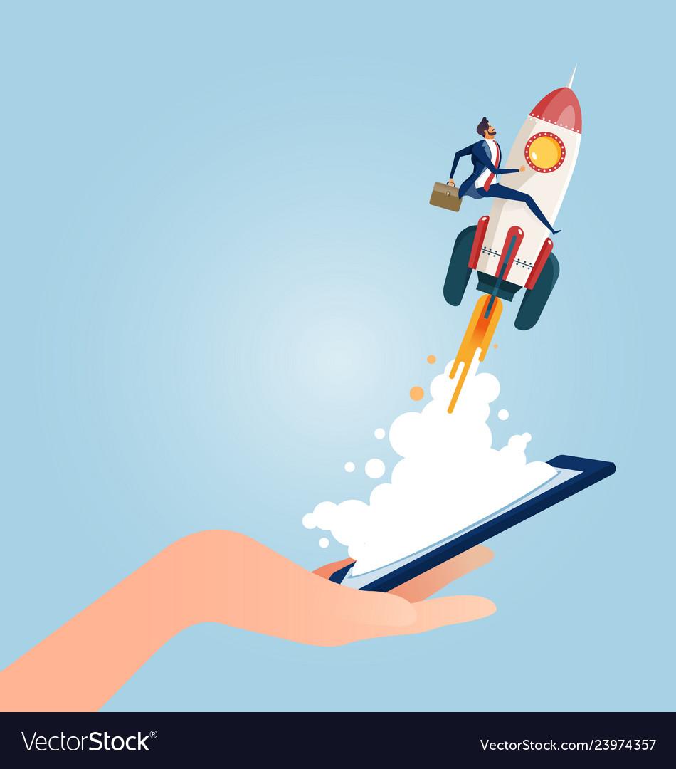Businessman riding rocket rom smart phone