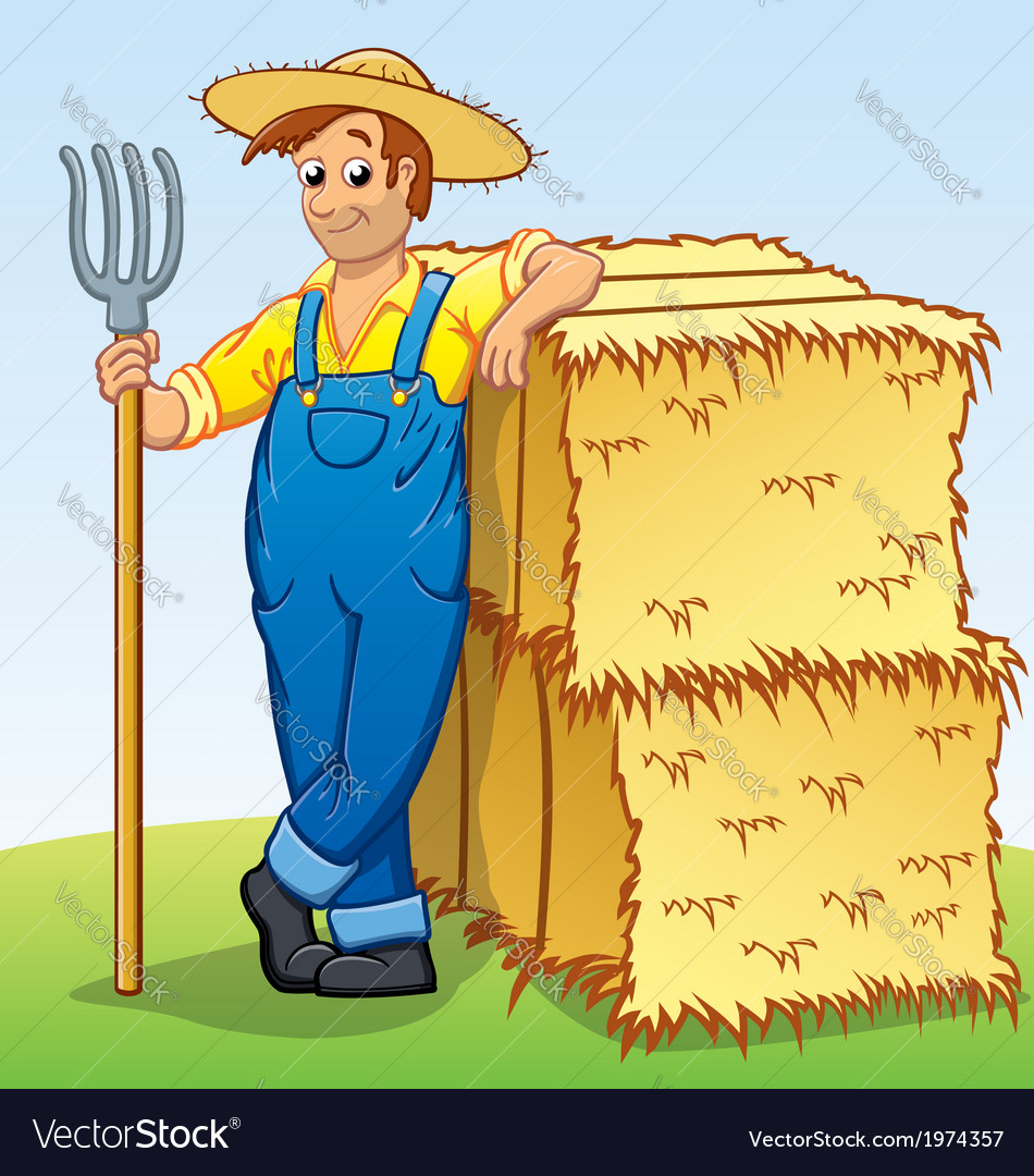 Cartoon Farmer with Pitchfork and Hay bails vector image