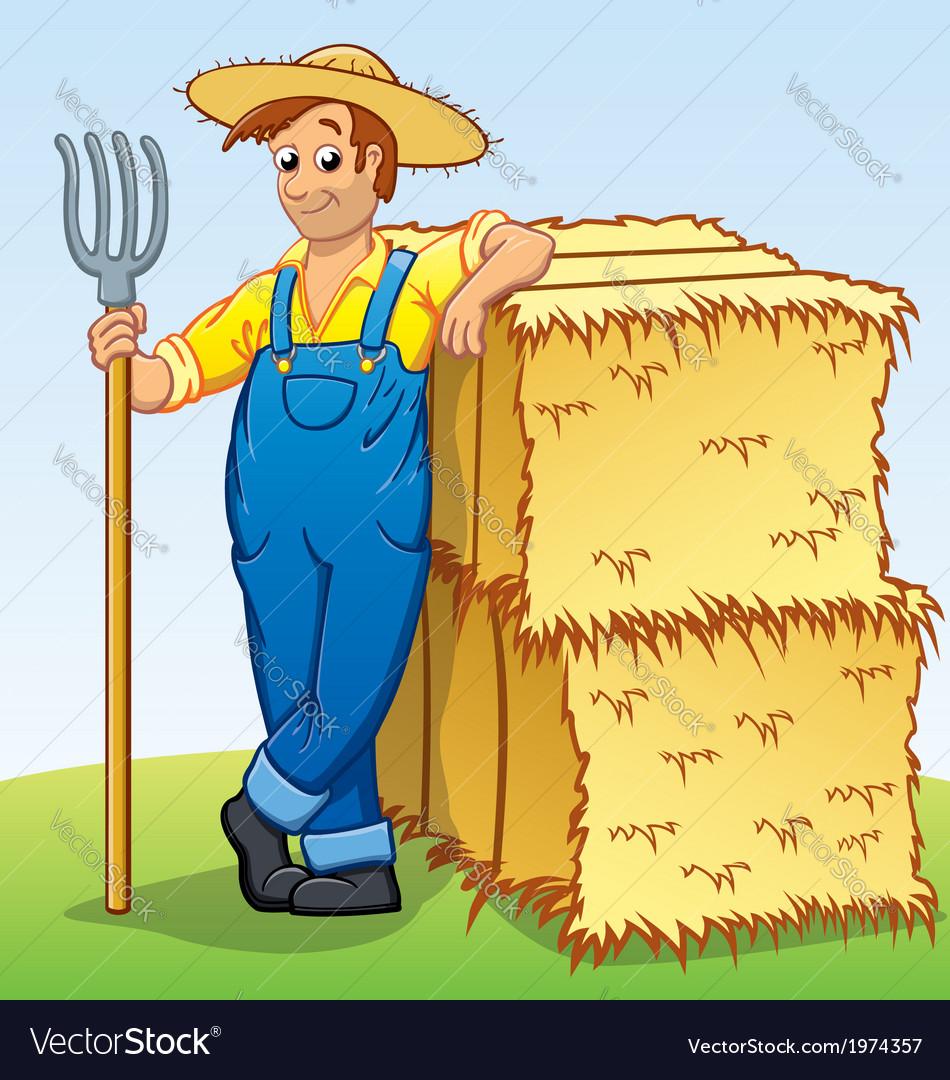 Cartoon Farmer with Pitchfork and Hay bails